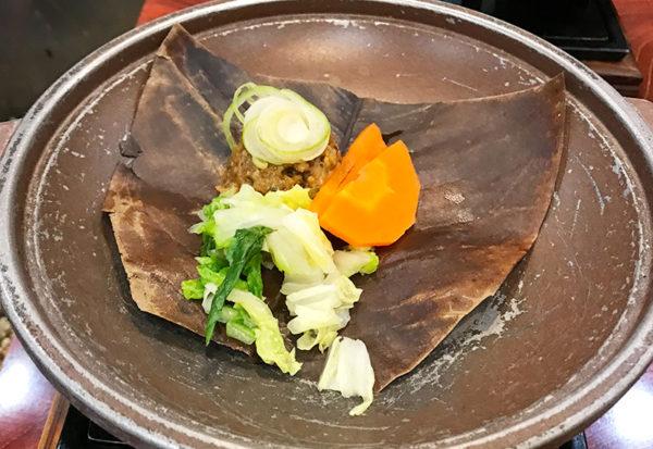 奥飛騨薬師のゆ 本陣 朝食 朴葉味噌焼き