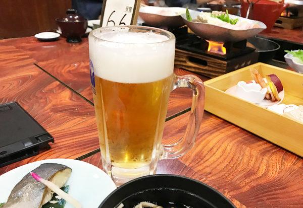 奥飛騨薬師のゆ 本陣 夕食 生ビール