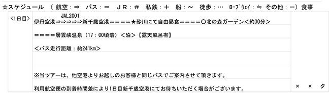 北海道3泊4日ツアーの最終日程表 1日目