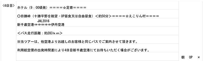 北海道3泊4日ツアーの最終日程表 4日目